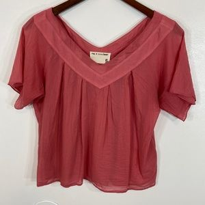 Rag & Bone Coral V-Neck Short Sleeve Blouse Top
